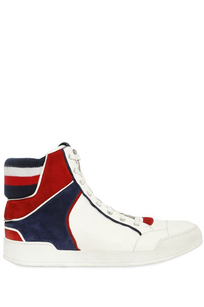 TRICOLOR LEATHER HIGH-TOP SNEAKERS