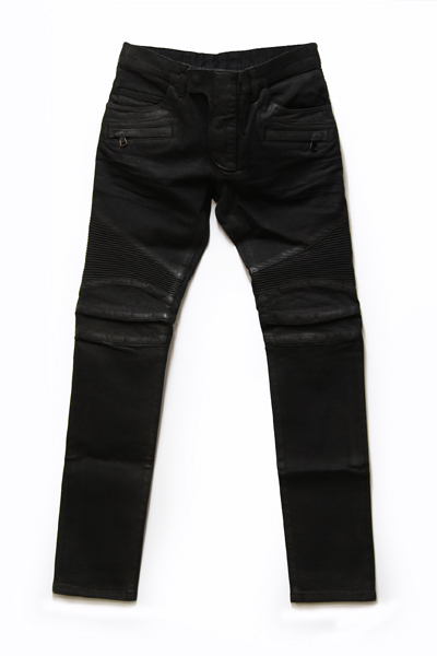 BIKER STRETCH DENIM PANTS・BLACK