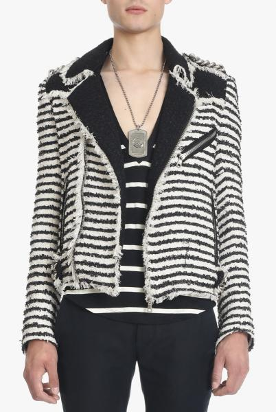 STRIPED TWEED BIKER JACKET(RUNWAY)