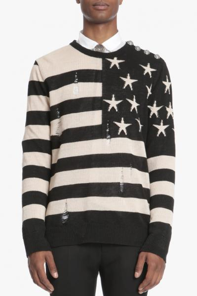 RIPPED WOOL SWEATER WITH AMERICAN FLAG