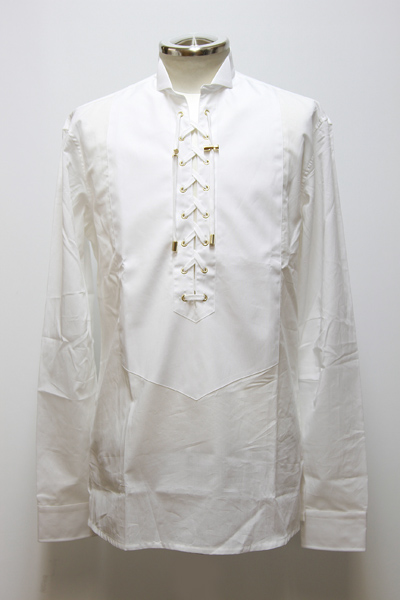 LACE-UP AND BIB FRONT COTTON SHIRT