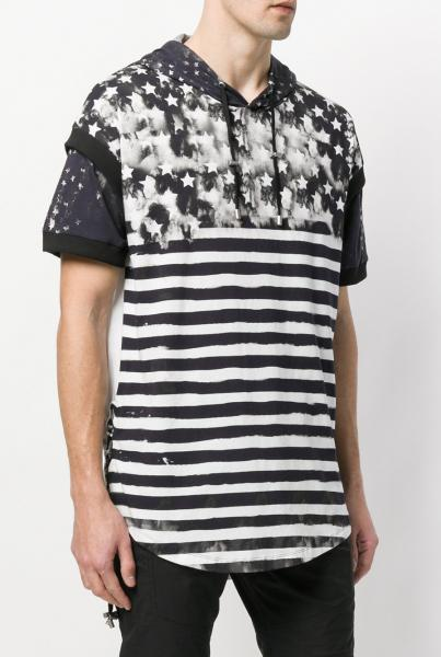 HOODED T-SHIRT WITH AMERICAN FLAG PRINT
