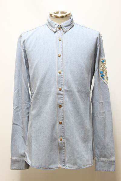 SKY-BLUE COTTON DENIM SHIRT WITH BADGE