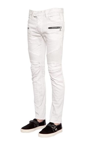 BIKER WASHED STRETCH DENIM JEANS