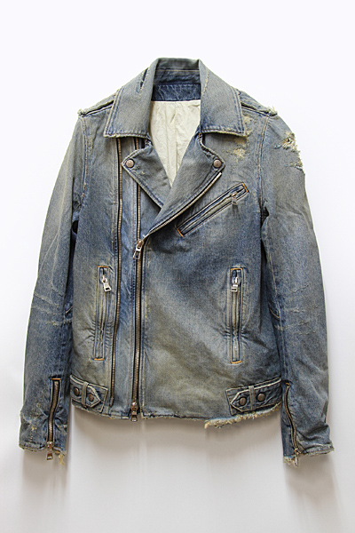 DESTROYED COTTON DENIM BIKER JACKET