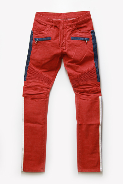 SLIM FIT CONTRASTED DENIM BIKER JEANS