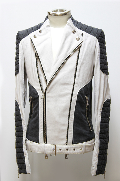CONTRASTED COTTON BIKER JACKET