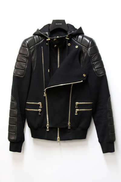 SWEAT BI MATIERE HOODED BIKER JACKET