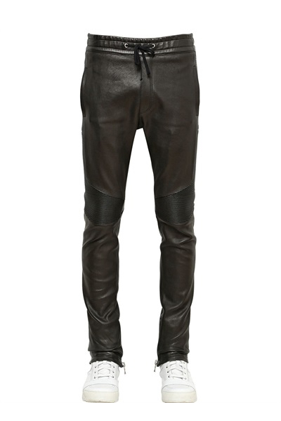 SLIM-FIT LEATHER JOGGING PANTS