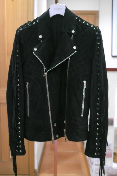 FRINGED SUEDE BIKER RIDERS「BLACK」