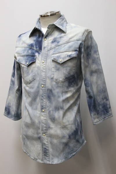 113 STRATCH BLEACHED DENIM SHIRT 3/4