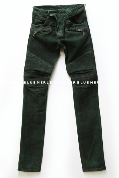 WASHED LEATHER BIKER PANTS