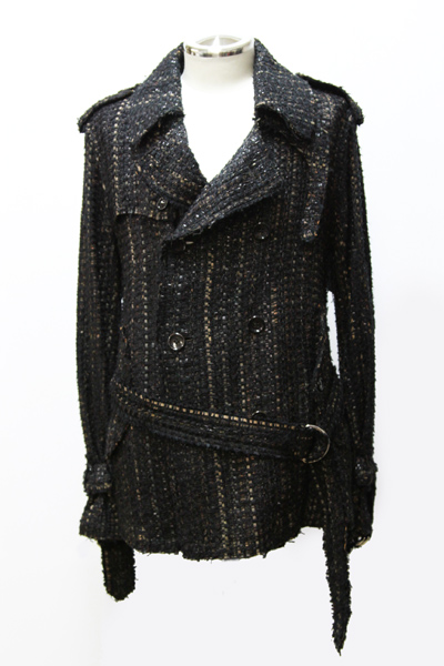 BLACK TWEED HALF TRENCH COAT