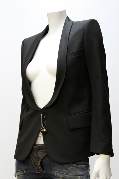 BALMAIN SHAWL COLLAR JACKET WITH PINS