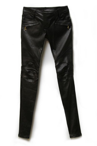 LEATHER BIKER PANTS