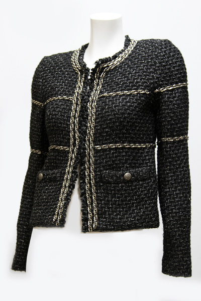 CHANEL Tweed+Chain Trimming Jacket