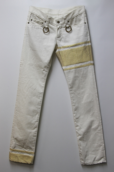 mastermind JAPAN SLIM 3LINE WHITE DENIM PANT(白金)XS