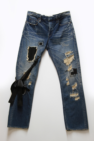 CRUSH DENIM PANTS WITH RIBBON TWEED