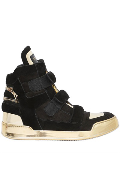 STRAP CRUST & SUEDE HIGH TOP SNEAKERS