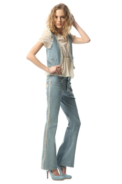 CENTER PRESS TWEED STRETCH DENIM PANT