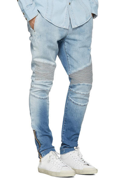 DESTROYED COTTON BIKER EASY DENIM