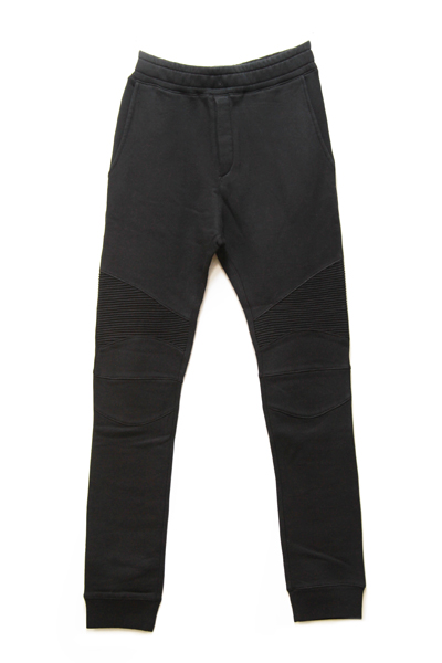 BLACK COTTON-JERSEY BIKER LEGGINS PANTS