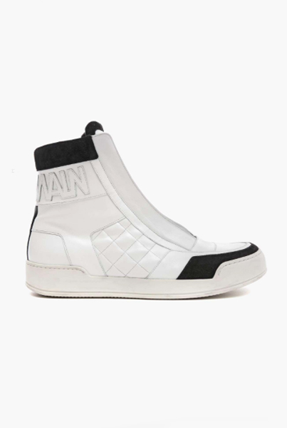 LEATHER HIGH-TOP SNEAKERS WITH LOGO
