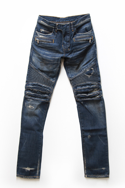 BIKER DESTROYED COTTON DENIM JEANS