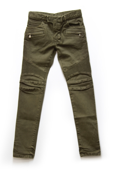 KHAKI STRETCH DENIM BIKER PT