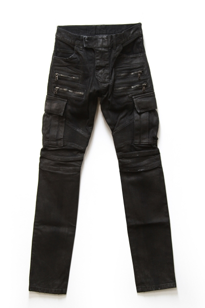 BLACK WAXED STRETCH DENIM CARGO BIKER