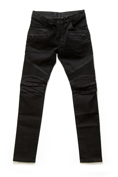 BLACK WAXED STRETCH DENIM BIKER JEANS