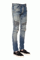 BIKER DESTROYED STRETCH DENIM JEANS