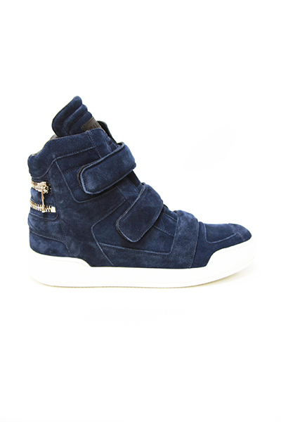 LEATHER HIGH-TOP SNEAKERS WITH ZIP DETAILING