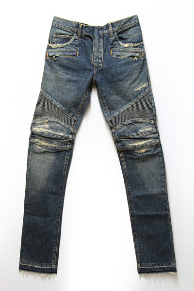VINTAGE WASH BIKER DAMEGED JEANS