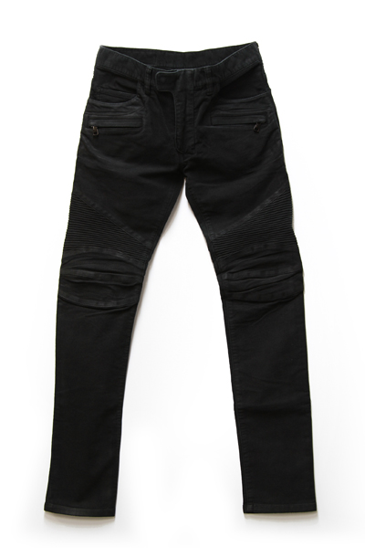 STRETCH COTTON MOLESKIN BIKER BLACK