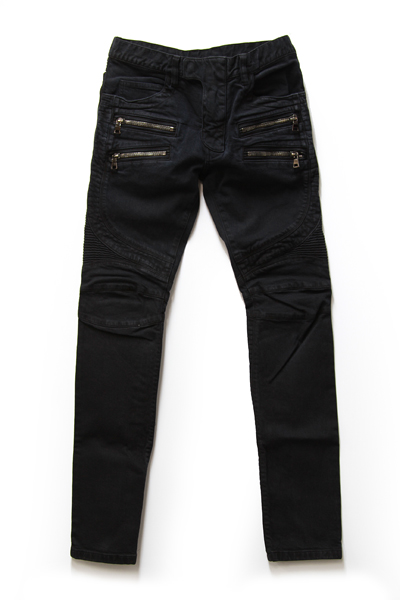 DOUBLE ZIP BIKER STRETCH DENIM JEANS