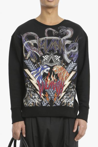 BALMAIN PRINTED COTTON SWEATER WITH BADGE