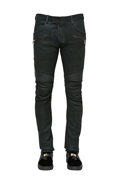 COATED NAPPA LEATHER BIKER PANTS