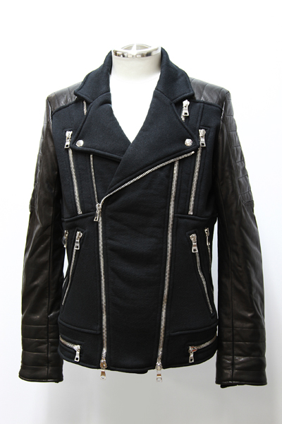 LEATHER AND SWEAT-JERSEY BIKER JACKET