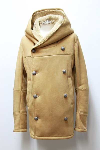 HOODED DOUBLE BREASTED SHEARLING JACKET