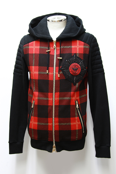TARTAN PRINTED COTTON HOODIE WITH BADGE