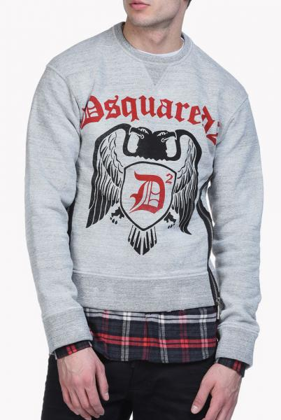 DSQUARED2 Crew Sweat with Flannel Hem