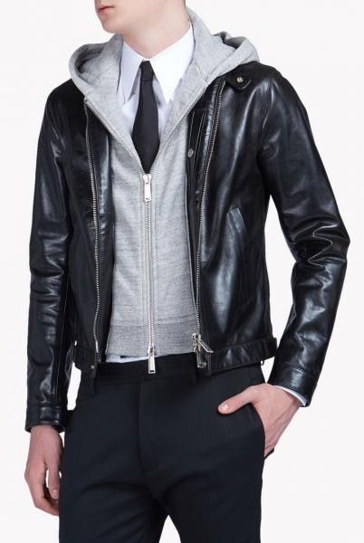 DSQUARED2 BIKER LEATHER JACKET W/ JERSEY HOOD