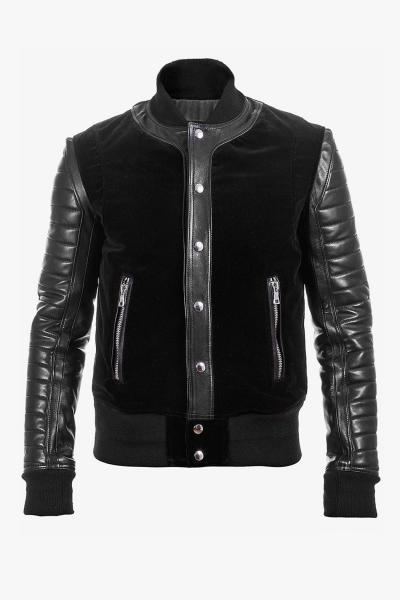 LEATHER AND VELVET BOMBER JACKET