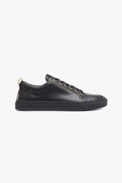 LEATHER SNEAKERS WITH GOLD-TONE PIPING