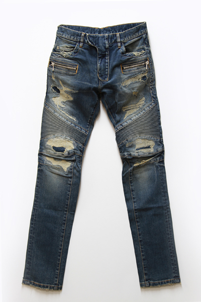DOUBLE ZIP BIKER DESTROYED DENIM JEANS