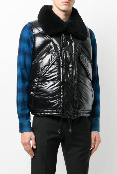 DSQUARED2 Shiny Puffer Vest with Shearling Collar