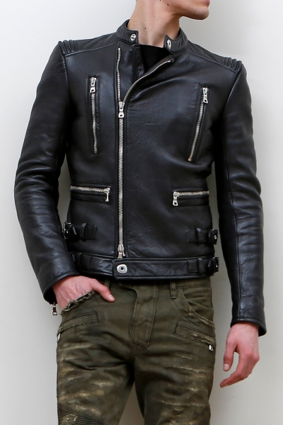 ASYMMETRIC ZIPPER LEATHER JACKET
